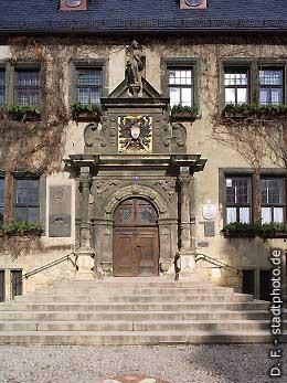 Rathaus - Hautpeingangsportal am Markt mit Wappen Quedlinburg, Markt. (Bild 100-5769)