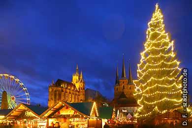 Erfurt: Weihnachtsmarkt auf dem Domplatz mit Dom und Severikirche (2007). (Bild 103-6827)