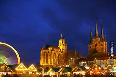 Erfurt: Weihnachtsmarkt. Dom und Severikirche. (Bild 103-6832)