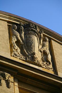 Prächtiges Stadtwappen / Wappen der Stadt Leipzig - Detail am liebevoll sanierten Handelshof. Leipzig, Grimmaische Straße 1 / 7. (Bild 106-1506)