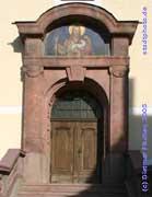Taucha: Stadtkirche St. Moritz, Haupteingang.