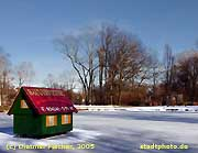 Taucha: Zugefrorener Teich im Stadtpark.